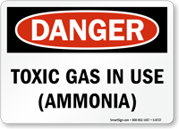 Danger Toxic Gas Ammonia In Use Sign