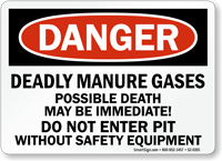 Deadly Manure Gases Do Not Enter Pit Sign