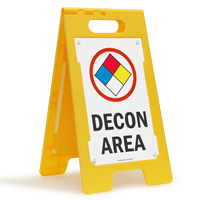 Decon Area W/Graphic Fold-Ups® Floor Sign