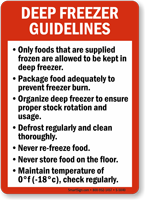 Deep Freezer Guidelines Sign