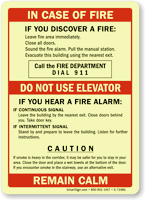 Call Fire Department, Upon Hearing Fire Alarm Sign