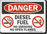 Diesel Fuel No Smoking Open Flames Danger Sign