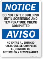 Do Not Enter Building Until Temperature Check Completed Sign