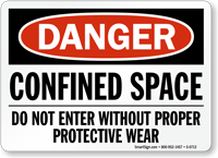 Danger Confined Space Protective Wear Sign