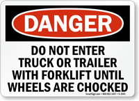 Do Not Enter Truck Trailer With Forklift Sign