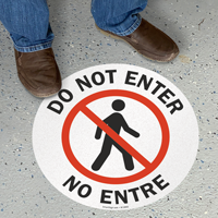 Bilingual Do Not Enter Circular Floor Sign