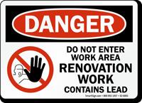 Do Not Enter Contains Lead OSHA Danger Sign