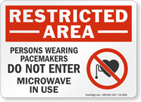 Persons Wearing Pacemakers Restricted Area Sign