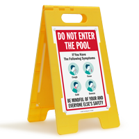 Do Not Enter The Pool If You Have Flu Like Symptoms FloorBoss Sign