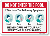 Do Not Enter The Pool If You Have Flu Like Symptoms Sign