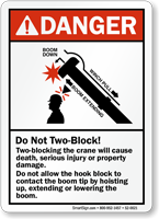 Two-Blocking Crane Could Cause Death ANSI Danger Sign