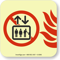 Do Not Use Elevator in Fire Sign