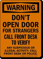 Don't Open Door For Strangers Osha Warning Sign