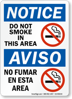 Bilingual Do Not Smoke In This Area Prohibited Sign