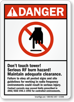 Don't Touch Tower Serious Rf Burn Hazard Sign
