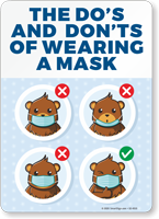 Do's and Don'ts of Wearing a Mask Face Covering Sign