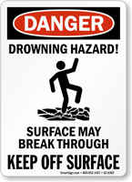 Drowning Hazard Surface May Break Through Sign