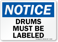 Notice: Drums Must Be Labeled