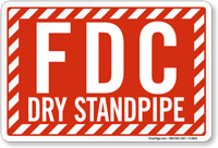 Dry Standpipe Fire Department Connection Sign