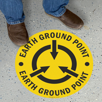 Earth Ground Point Circular Anti-Skid Floor Sign