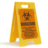 Eating, Drinking, Smoking Prohibited Biohazard Floor Standing Sign
