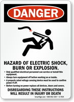 Hazard Of Electric Shock, Burn Or Explosion Sign