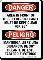 Bilingual Danger Electrical Panel Clear OSHA Sign