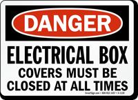Close Electrical Box Covers OSHA Danger Sign