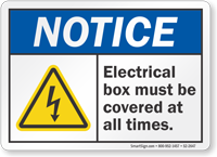 Electrical Box Must Be Covered OSHA Notice Sign