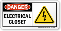 Electrical Closet OSHA Danger Sign