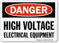 Danger High Voltage Electrical Equipment Sign