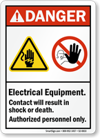 Electrical Equipment, Authorized Personnel Only ANSI Danger Sign