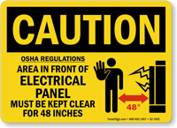 Electrical Panel Keep Clear Caution Sign
