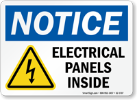 Electrical Panels Inside Notice Sign