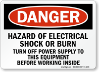 Hazard Of Electrical Shock Burn Danger Sign