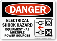 Electrical Shock Hazard Multiple Power Sources Equipment Sign