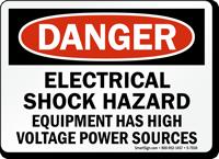 Electrical Hazard Equipment Has High Voltage Power Sign