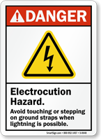 Electrocution Hazard Avoid Touching Ground Straps Danger Sign