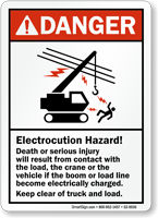 Electrocution Hazard ANSI Crane Safety Sign
