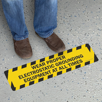 Wear Electrostatic Grounding Equipment Floor Sign