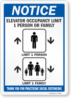 Elevator Occupancy Limit 1 Person Or Household Sign