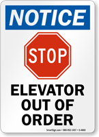 Elevator Out of Order Sign