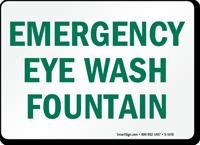 Emergency Eye Wash Fountain Sign