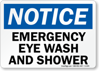 Notice Emergency Eye Wash Shower Sign