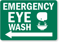 Emergency Eye Wash Sign (Arrow Left)