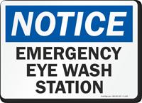 Notice Emergency Eye Wash Station Sign