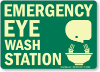 Emergency Eyewash Station Sign (with graphic)