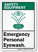 Emergency Personal Eyewash Safety Equipment Sign