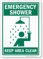 Emergency Shower Keep Area Clear (graphic) Sign