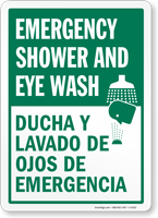 Emergency Shower and Eyewash Sign Bilingual